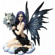 Wolf Beauty Fairy Sculpture Statue Ornament Wolves Figure Mythical Creature Gift